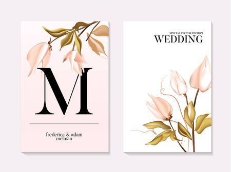 Botanical greeting card. Wedding tender soft rose Design template of business cards with abstract spring flowers for the hotel, beauty salon, spa, restaurant, club. Vector illustration. Ilustração