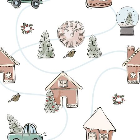 Trendy Christmas illustration. cookie house, clock, tree, bird tenser watercolor winter holiday background pattern.  Seasonal greeting .