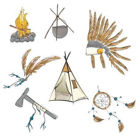 Native american indian warrior vintage bohemian sketch. Teepee, warbonnet, indian ax, dream catcher boho sioux tribal print. Nursery kids hand-drawn elements background. Ilustração