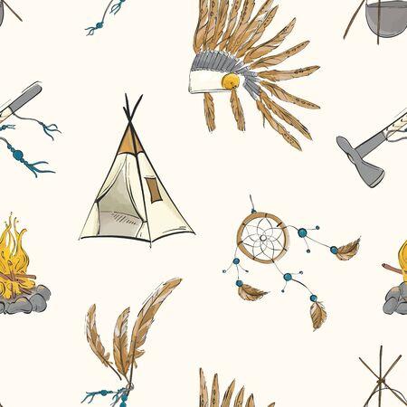 Native american indian warrior vintage bohemian pattern. Teepee, warbonnet, indian ax, dream catcher boho sioux tribal print. Nursery kids background.