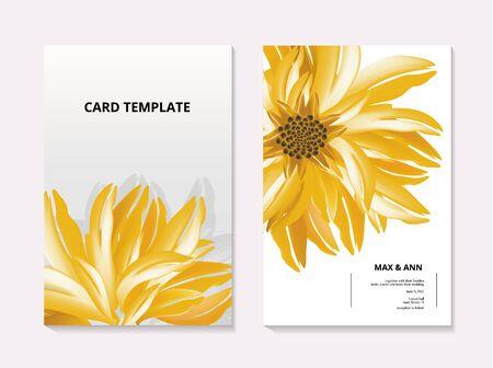 Sunflower contrast card template. Summer 3d realistic floral botanical wedding card, flora macro vector art. Garden paradase illustration in yellow and black colors. Ilustração