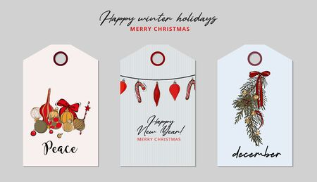 Christmas greeting tag set: bauble, garland,  holiday decorated tree branches, star , candy cone sketch. Hand-drawn winter  Xmas festive decoration, Happy New Year vintage art in vector.