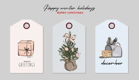 Christmas greeting tag set: gift, present, bauble, holiday decorated tree, star sketch. Hand-drawn mailbox with mails to Secret Santa  Xmas festive decoration, Happy New Year vintage in vector.