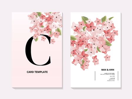 Hydrangea wedding 3d realitic vector wedding card, modern nature pink bloom invitation design. Romantic holiday composition. Floral botanical decoration .