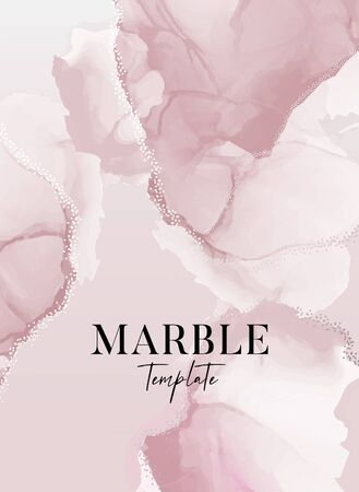 Vector  tender rblush ose and gold foil save the date card with marble splashes, modern grunge watercolor texture background. Trendy texture, party design, wedding invitation. Illustration