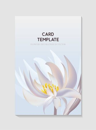 Flowers and foliage water lily bloom for wedding invitation card, greting holiday template design, soft  flowers  on lightblue background.