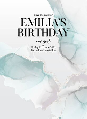 Blue green save the date birthday invitation card. Marble liquid flow texture with gold elements. Alcohol ink marble splash for presentation, invitation,website, blog, design template in vector