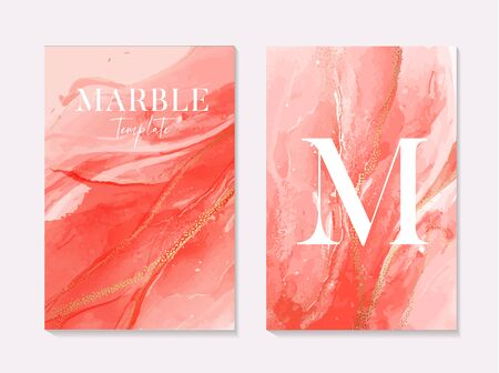 Pink coral contrast liquid red alcohol ink marble set splash with gold glitter sparkles for presentation, invitation,website,delicate blog decoration, design template in vector