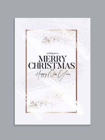 Xmas card with gold sparkle and messy gold brush strokes on pastel tender background, classic Christmas banner, winter holiday invitation template, New Year concept in soft colors, vector