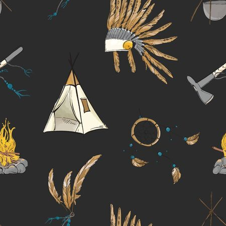 Native american indian warior vintage bohemian pattern on black. Teepee, warbonnet, indian ax, dream catcher boho sioux tribal print. Nursery kids background Illustration