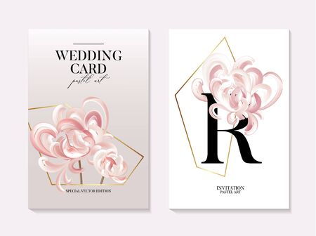 Flowers and foliage chrusanthemum wedding invitation card template design, Tender rose flowers and gold geometric shapes modern event decoration card. bouquet in vector Ilustração