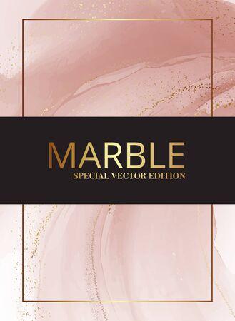 Modern pastel rose pink beige pastel watercolor liquid splash, dunamic flow shape with gold foil elements for Branding, presentation, abstract background.Magic messy art Illustration