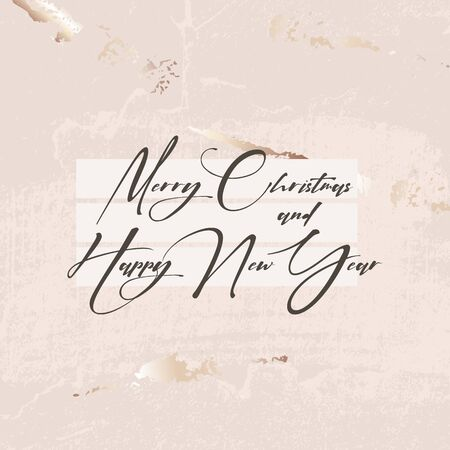 Merry Christmas gold glitter luxury beige texture template. Winter holidays festive sparkle marble texture, business greeting card with best wishes art in vector