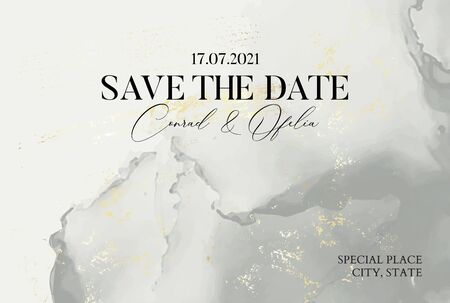 Hand-drawn marble texture in pastel grey colors with watercolor fluid ink and golden foil glitter. Tender Chic business cover, Save the Date card, wedding invitation.