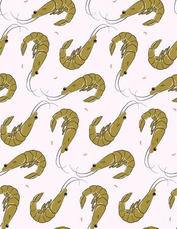Funny summer shrimp pattern. Modern colorful pastel green and pink food background, kitchen seamless design, restaurant tasty surface background, delicious prawns menu illustration in vector.