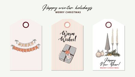 Merry Christmas tender rose gold hand-drawn geometric garland , baubles with bow, gift sketch in vector. Modern New Year and winter holidays greeting card decoration. Best wishes design