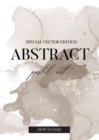 Pastel grey and gold foil abstract brush strokes marble watercolor ink splash in vector. Tender pastel painting for banner, flyer, brochure, website graphics. Ilustração