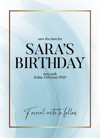 Save the date birthday party design, liquid flow in blue color with gold glitter sparkle and gold frame, holiday invitation. Ternder design for wedding, greeting, poster, web, blog, article in vector