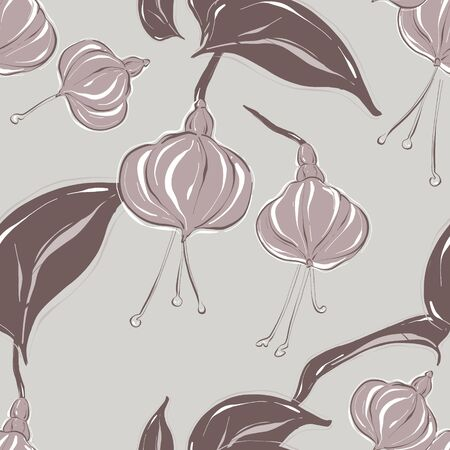 Seamless pastel grey vector Floral Pattern with foliage jungle elements. Tender soft simple colors flowers background. Floral summer botany nature art