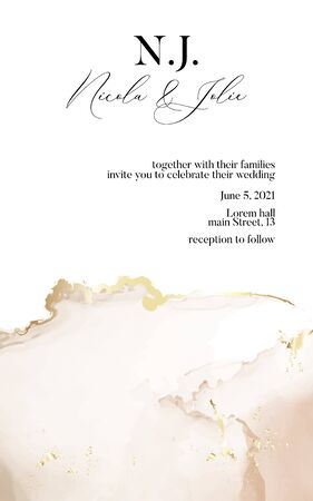 Wedding invitation cards with Luxury gold and soft beige marble texture background and Abstract watercolor liquid flow style vector design template. Save the date invitation card