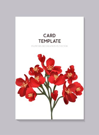 Floral red wedding invitation card template design, hand-drawn 3d realistic bloom with tender flower branch. Simple flower invitation template, botanical bloom art Иллюстрация