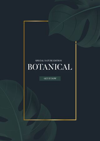 Monstera on dark background, modern 3d realistic greeting card, tropical contrast planner, brochure, summer exotic flyer,  paradise exotic template in vector with gold frame.