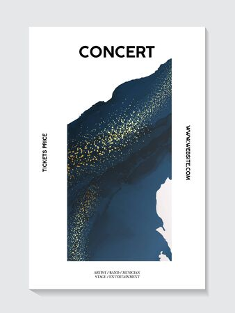 Phantom blue navy marble texture with gold foil soft texture concert postert concept. Abstract art 2020 design, liquid flow in dark blue color design for invitation, poster, header, website, print ad.