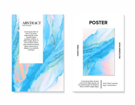 Modern unique blue turquoise acrylic marble background in vector, liquid splash, tender holographic flow, color 2020 desing, marble ink phantome blue design. Иллюстрация