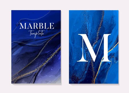 Phantom blue navy marble texture with gold foil soft texture, abstract art. Boho 2020 design, liquid flow in dark blue colors. Grunge texture design for invitation, poster, header, website, print ads.