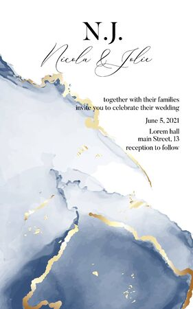 Vector soft blue tender texture with liquid flow and gold marble strokes, perfect decoration for wedding invitation, rsvp card, poster, header, website, wallpaper, concert, workshop.