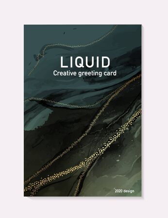 Vector contrast green gold marble poster, pastel alcohol ink greeting card, inking website banner, abstract packaging with liguid flows background. Illustration