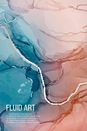 Vector contrast red blue rose silver marble poster, alcohol ink greeting card, website banner, abstract packaging with liguid flows background.  Ilustrace