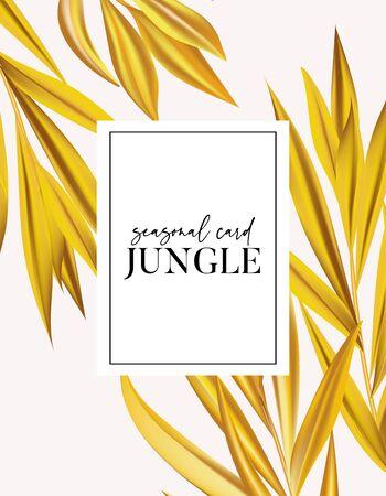 Modern vecor realistic palm  leaves minimal card design, banana leaf contrast yellow splash template for poster, flyer, partty design, planner graphics. Иллюстрация