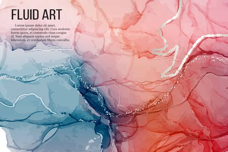 Vector contrast red blue rose silver marble poster, alcohol ink greeting card, website banner, abstract packaging with liguid flows background.  Illustration