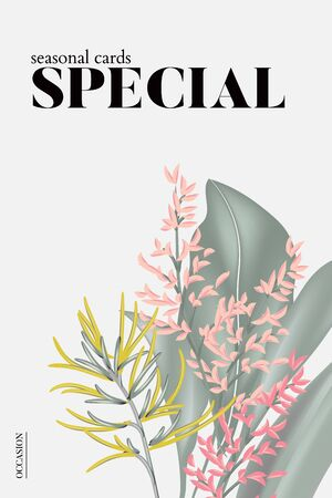 Modern Floral wedding invitation card, poster design template, party greeting concept, pink yellow exotic flowers with text lettering on white, pastel vintage theme. Иллюстрация