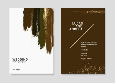 Vector dark brown marble grunge brush strokes, hand drawn wedding typography, golden glitter party concept, poster template.