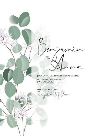 Eucalyptus floral wedding watercolor art, bridal card template, hand-drawn vector concept with flower and leaves. Realistic greeting template, holiday graphics, tender bouquet greenery decoration.