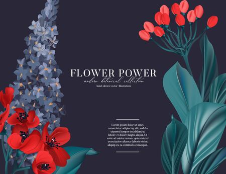 Botanical exotic Lavender decoration, ficus leaves, poppy bloom  invitation card template designon navy background. Contrast nature botanical holiday decoration in vector. Иллюстрация