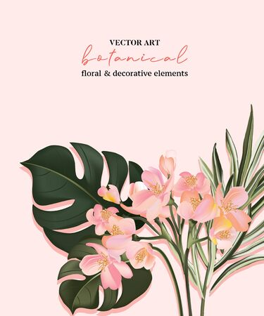 Botanical exotic bird of paradise flowers and palm leaves invitation card template design, green split-leaf Philodendron plant on pink background, minimalist vintage style.