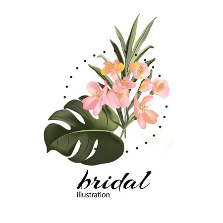 Hand drawn watercolor exotic flowers and monstera palm leaves. Summer Tropical dark green party design with gold elements, invitation card template design, branding concept in vector. Иллюстрация