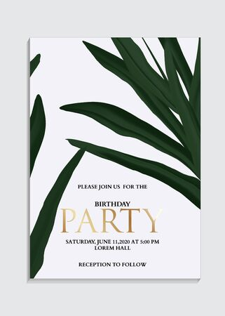 Hand drawn palm leaves Tropical dark green design with gold elements, invitation card template design.