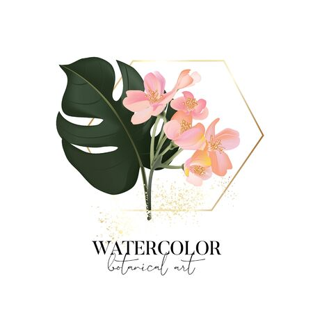 Hand drawn watercolor monstera palm leaves and colorful Tropical flowers design with gold frame and  text elements.