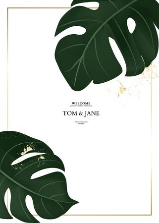 Hand drawn monstera palm leavesin vector. Jungle Tropical dark green design with gold elements, wedding invitation card template design with big philodendron leaves. Illustration