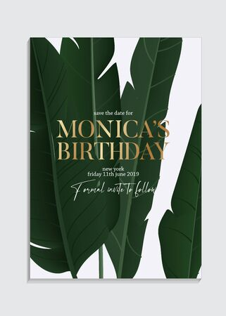 Hand drawn banana palm leaves Tropical dark green design with gold elements text, luxury  birthday invitation card template design. Paradise party greeting.