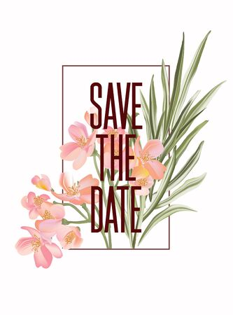 Botanical watercolor exotic flowers and palm leaves Save the date card template design, green foliage plant with pink bloom isolated on white background, minimalist vintage style in vector.