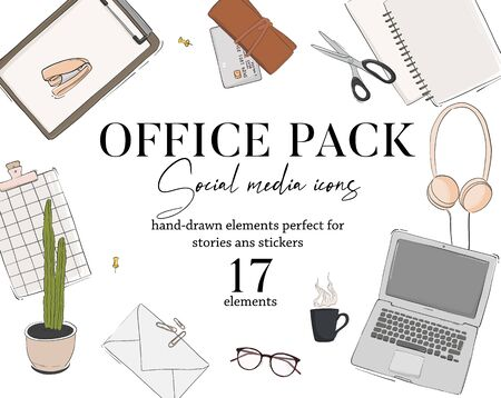 Modern hand-drawn office ack icons: headphones, laptop, notebook, files, folders flatlay concept. Business or study vector set, Work social media sketch art, busy office supply elements