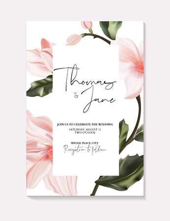 Wedding invitation frame composition with flowers, leaves, watercolor, minimal vector. Sketched realistic wreath, floral and herbs garland with rose, green, greenery color, party design. Фото со стока - 137854489