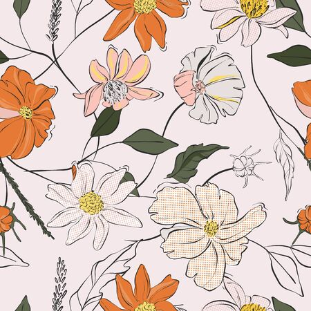 Orange floral bloom vector, hand-drawn beautiful illustration pattern with jungle leaves and sketch florals. Nature design