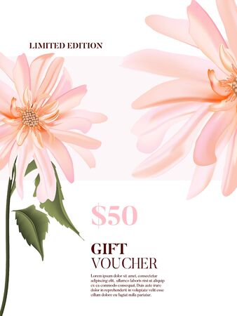 Waterclor realistic tender rose pink  dahlia flower poster in vector. Tender garden blooming plant advertising. Fabulous spring daisy nature art. Florist branding.
