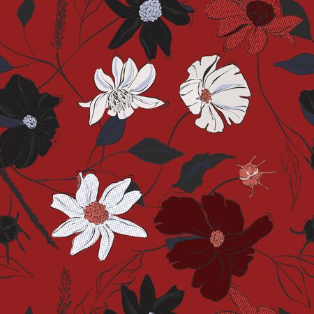 Red floral bloom vector, hand-drawn beautiful illustration pattern with jungle leaves and sketch florals. Nature design. Фото со стока - 137854492